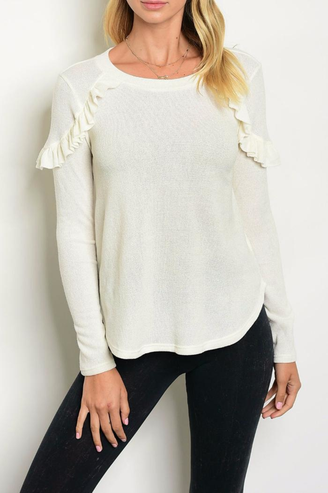 Maronie  Ivory Ruffle Sweater - Front Cropped Image