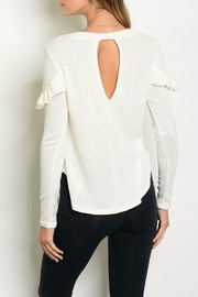 Maronie  Ivory Ruffle Sweater - Front full body