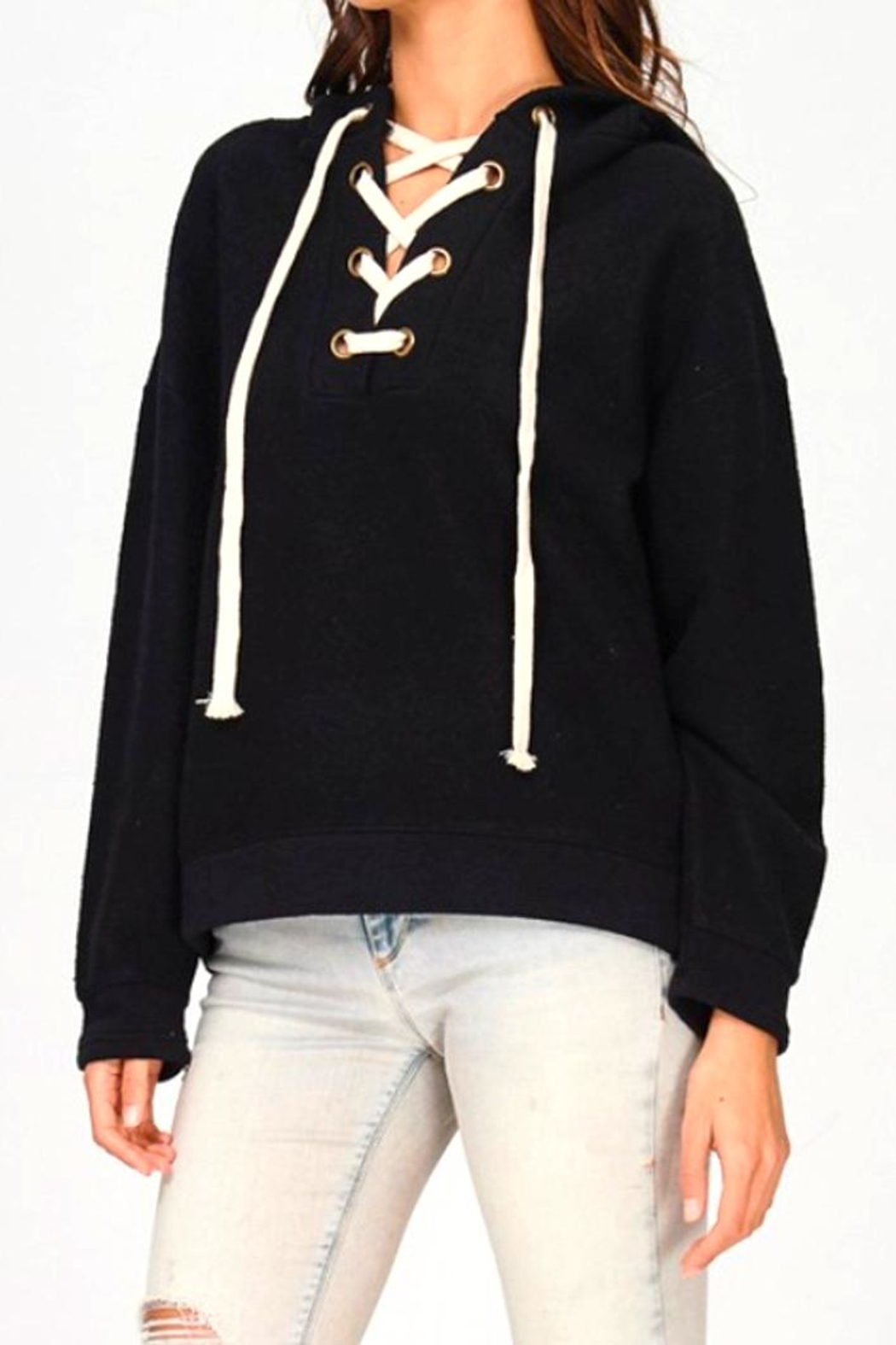 Maronie  Lace Up Hoodie - Front Full Image