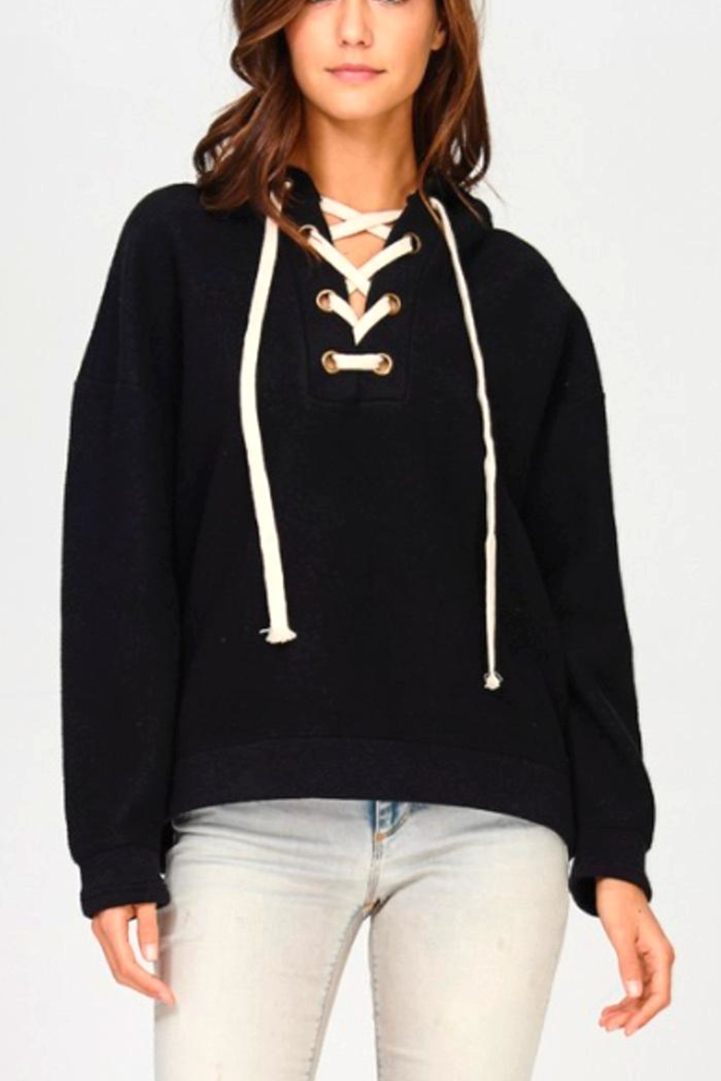 Maronie  Lace Up Hoodie - Front Cropped Image