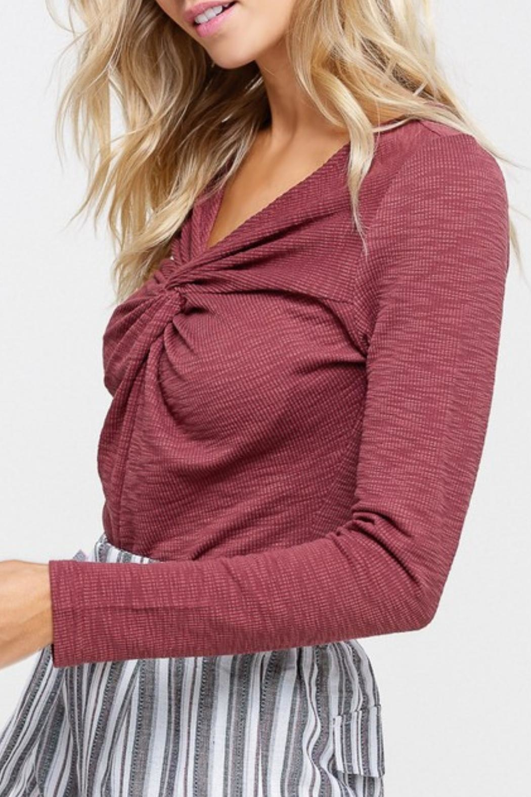 Listicle Maroon Twist-Front Top - Front Full Image