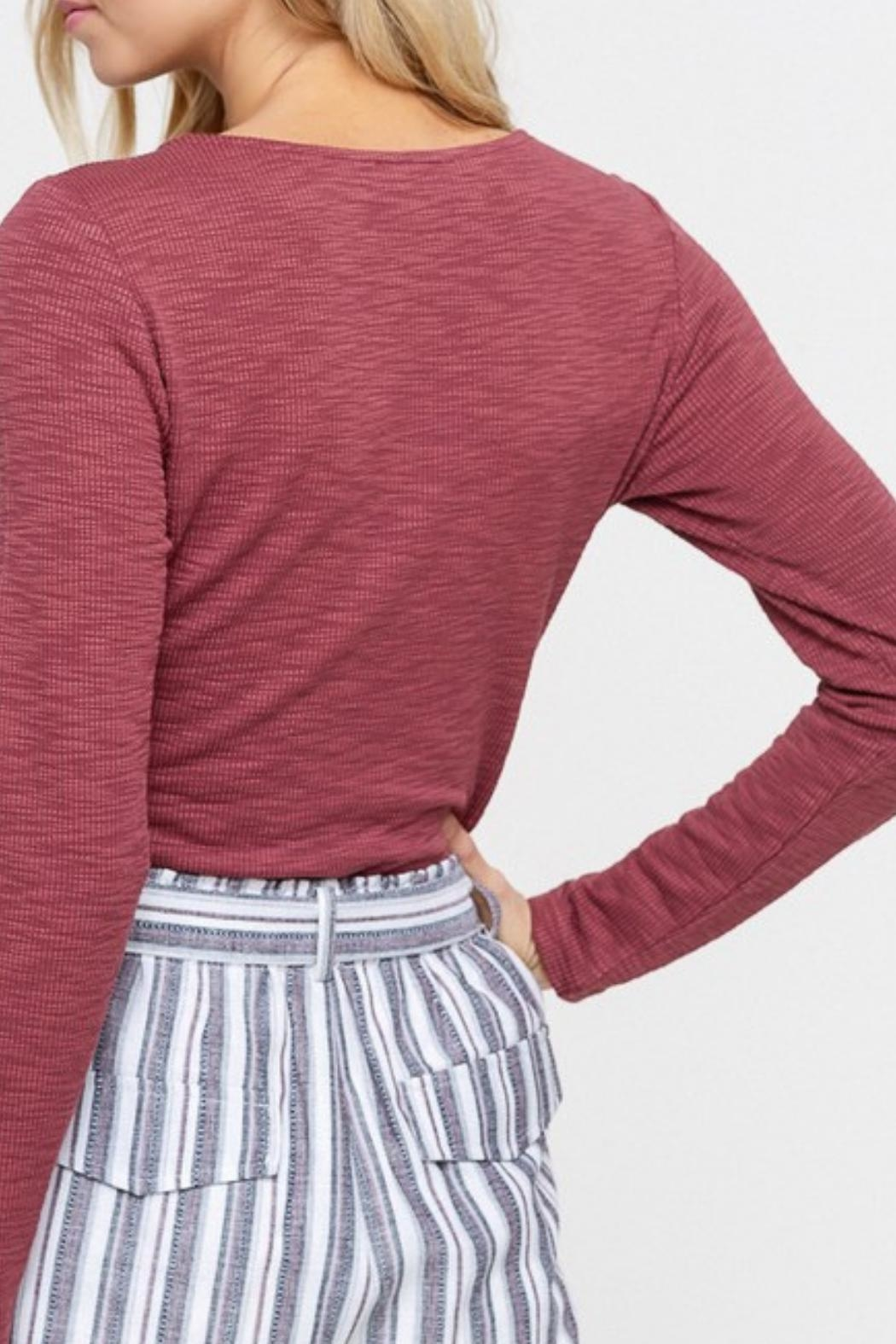 Listicle Maroon Twist-Front Top - Back Cropped Image