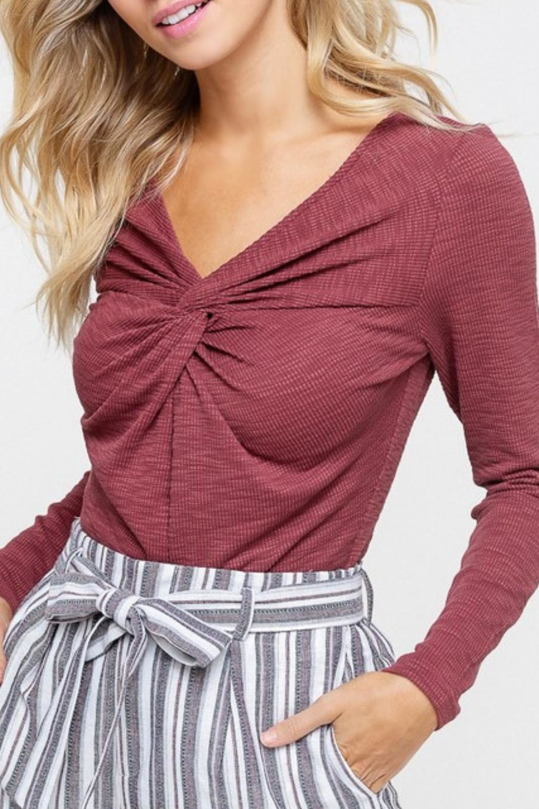 Listicle Maroon Twist-Front Top - Side Cropped Image