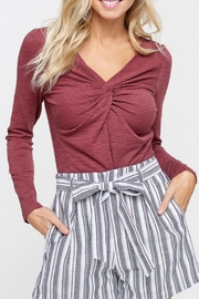 Listicle Maroon Twist-Front Top - Front cropped