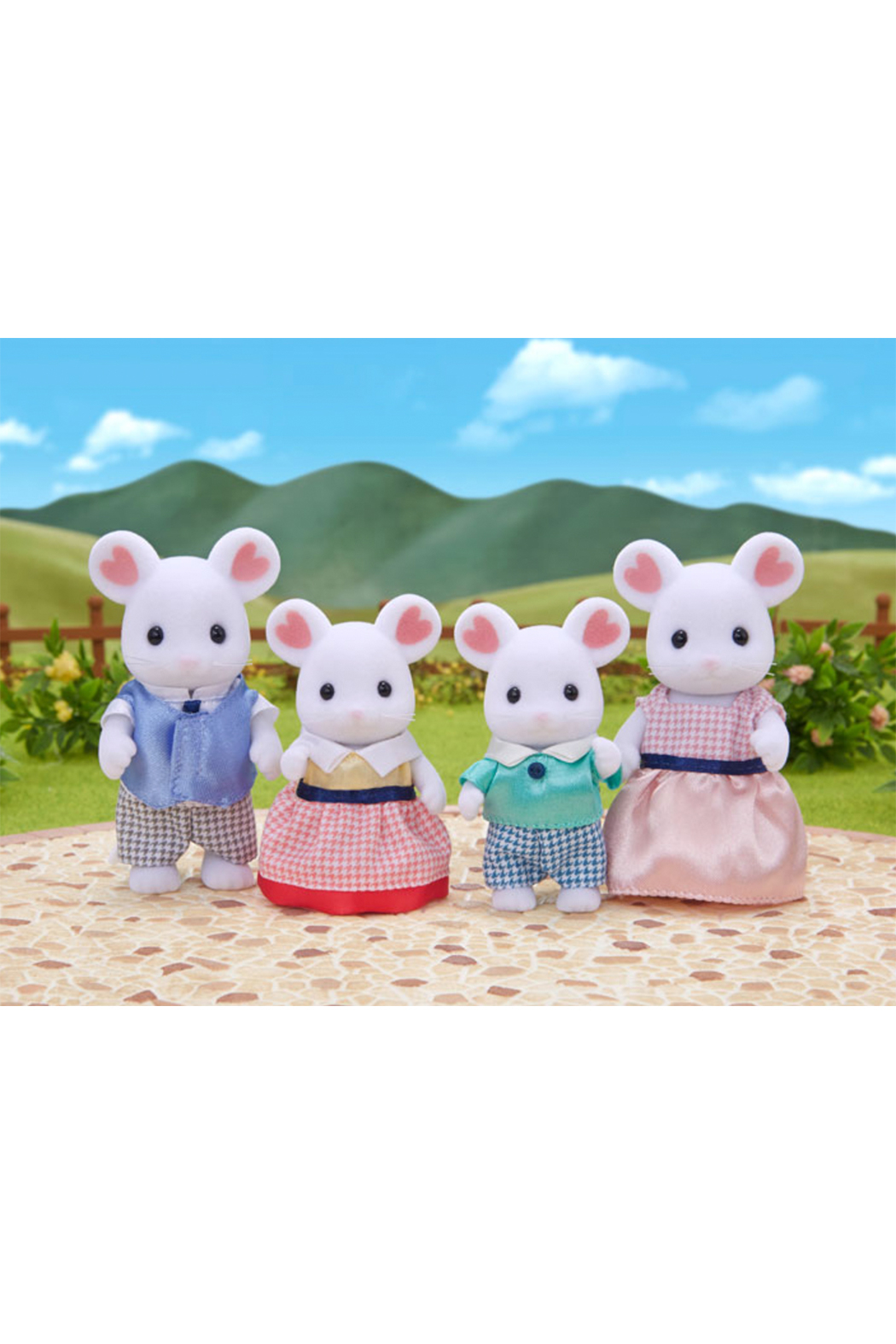 Calico Critters Marshmallow Mouse Family - Front Full Image