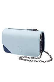 Martella Bags Baby Blue Leather Clutch - Front cropped