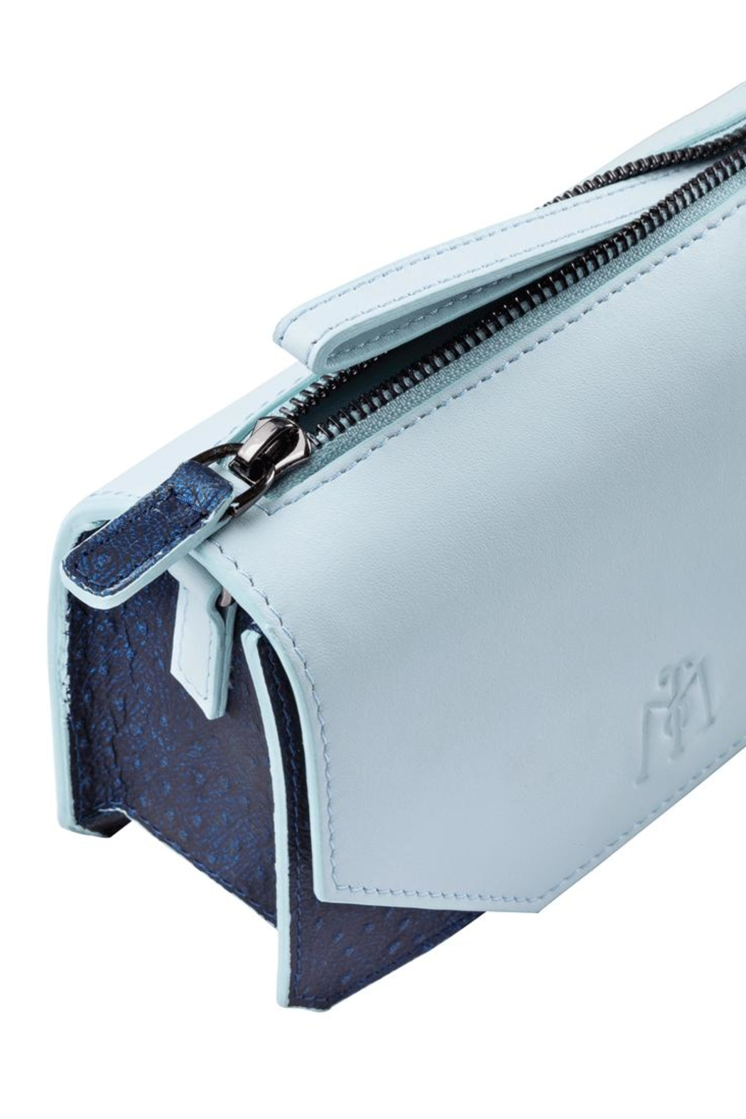 Martella Bags Baby Blue Leather Clutch - Front Full Image