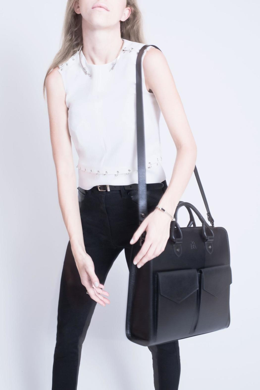 Martella Bags Black Leather Tote - Back Cropped Image