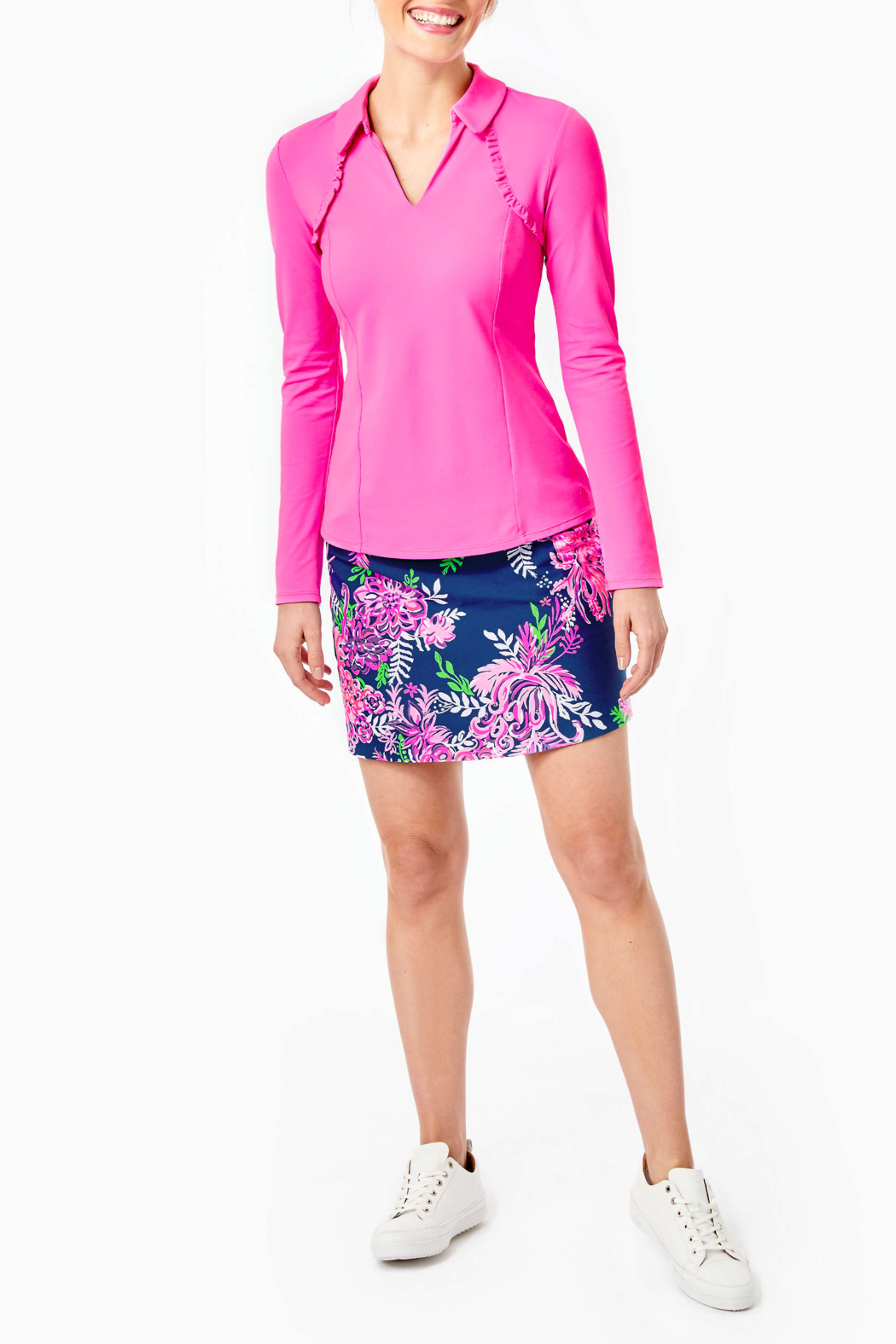 Lilly Pulitzer  Martina Long Sleeve Polo UPF 50+ - Side Cropped Image
