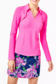 Lilly Pulitzer  Martina Long Sleeve Polo UPF 50+ - Front cropped
