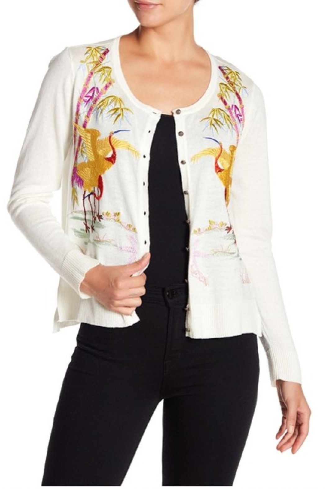 Aratta Marvelous Embroidered Cardigan - Front Cropped Image