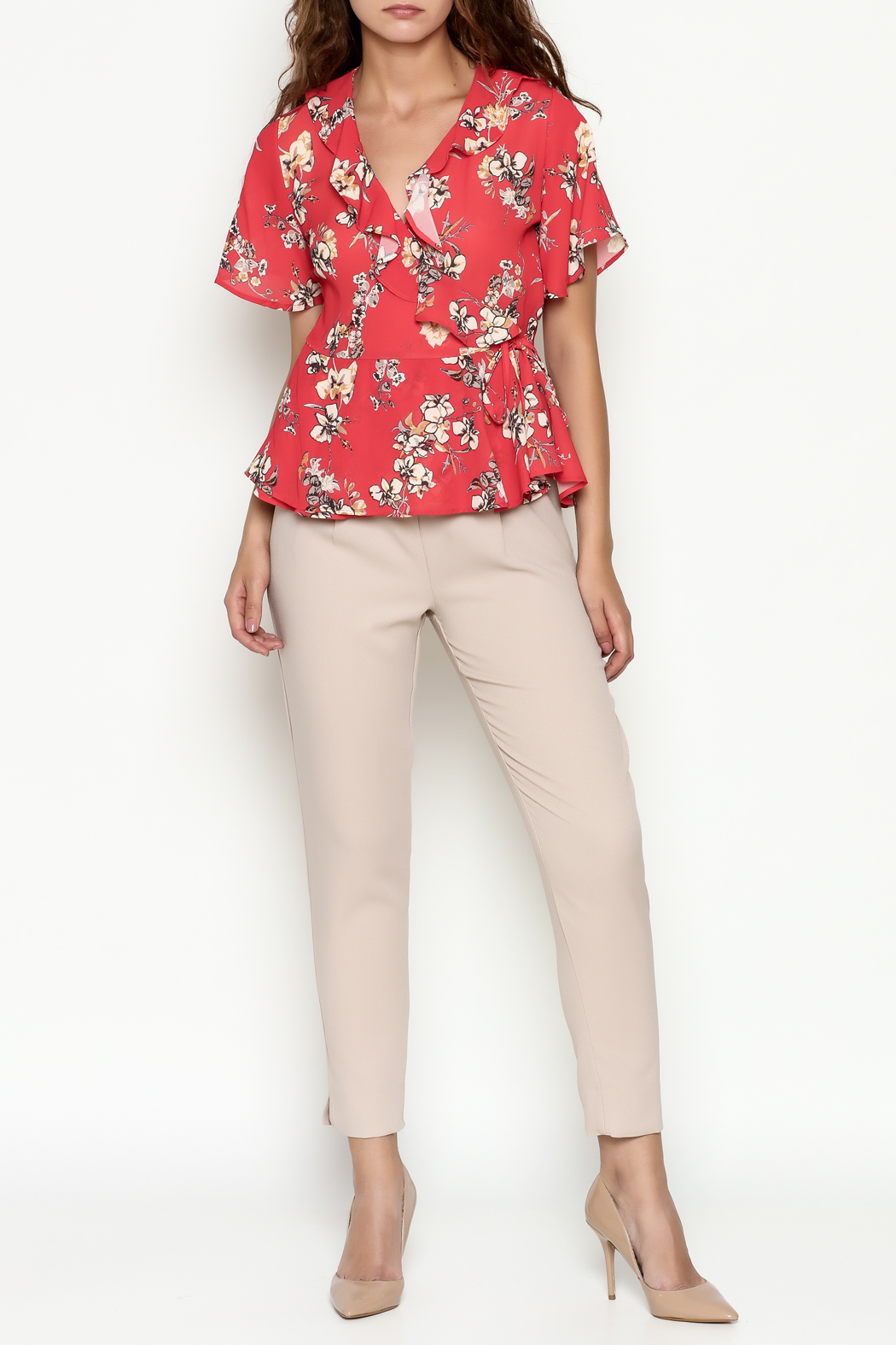 Marvy Fashion Floral Surplice Top - Side Cropped Image