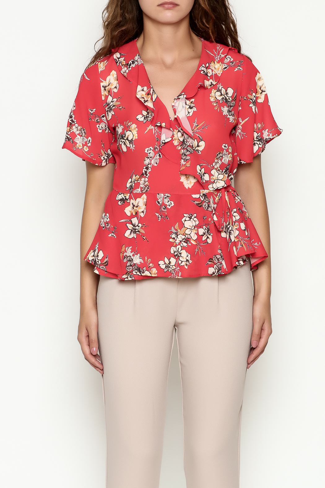 Marvy Fashion Floral Surplice Top - Front Full Image