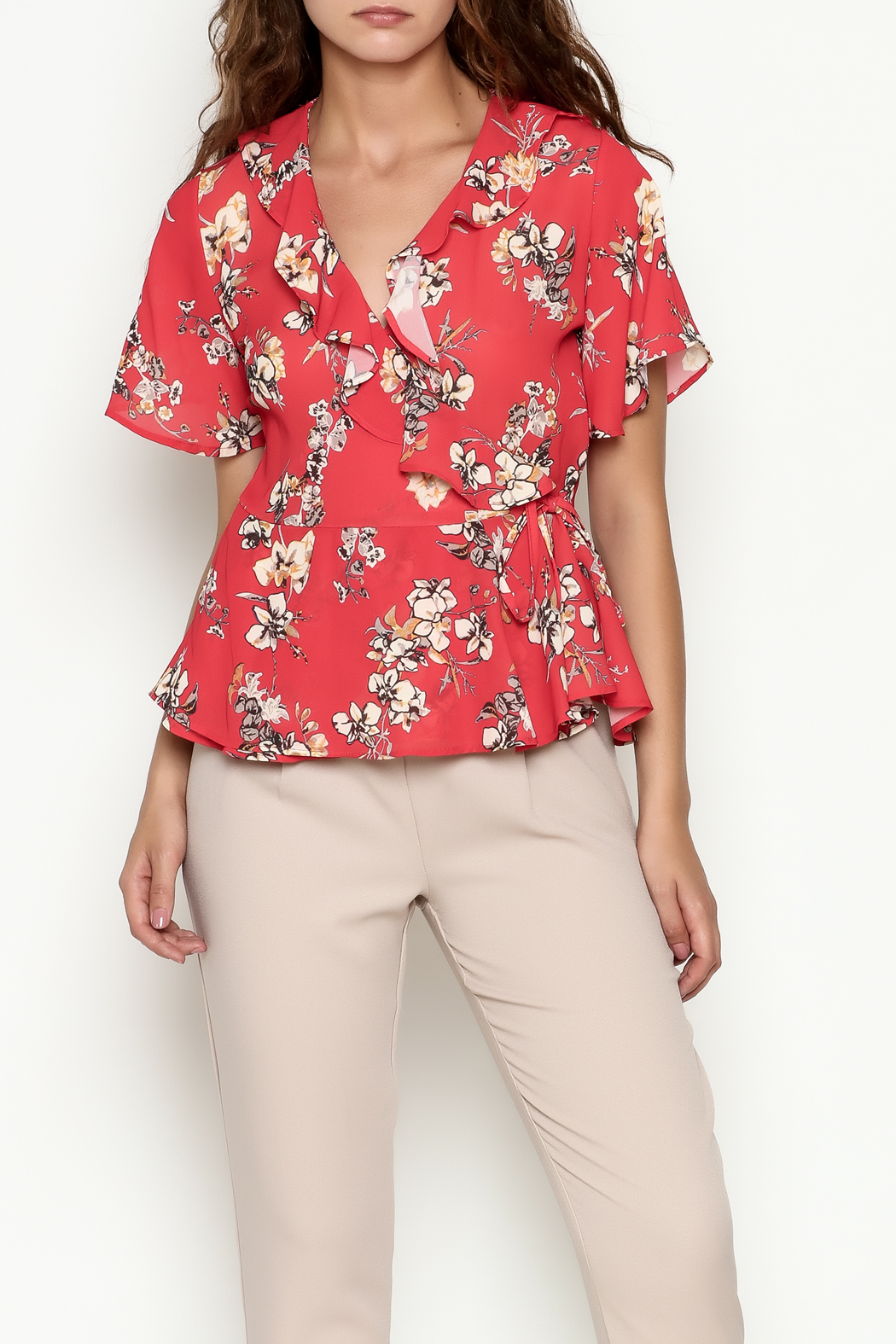 Marvy Fashion Floral Surplice Top - Front Cropped Image
