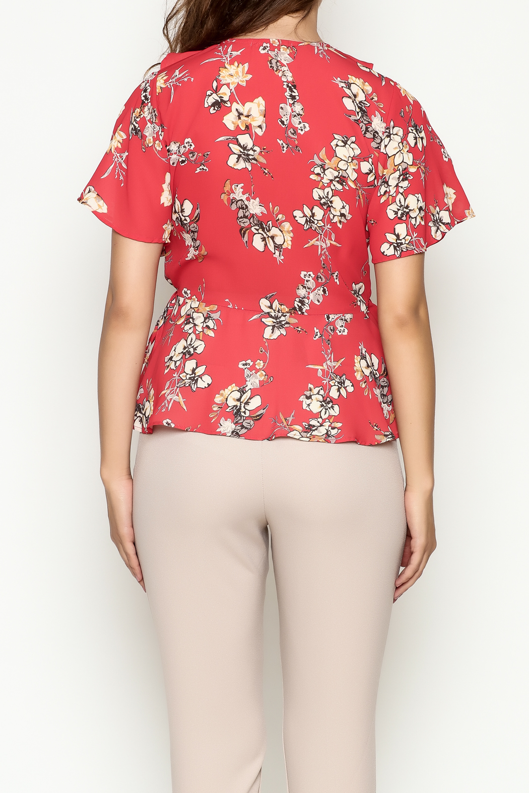 Marvy Fashion Floral Surplice Top - Back Cropped Image
