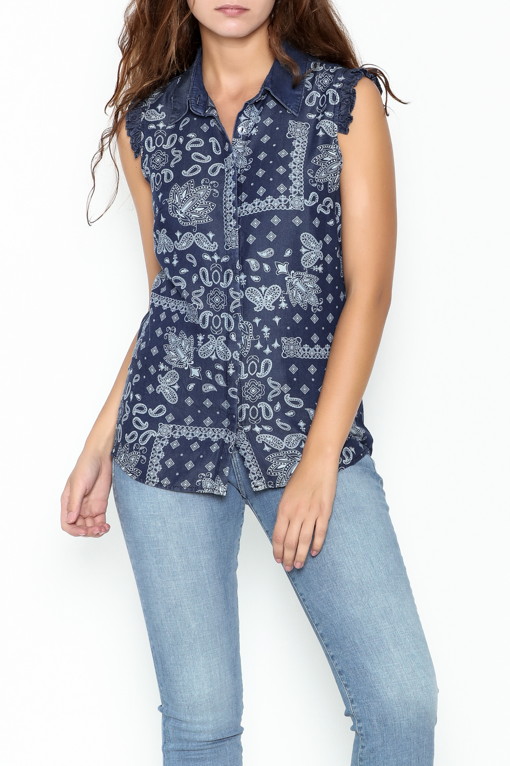 Marvy Fashion Printed Jean Top - Front Cropped Image