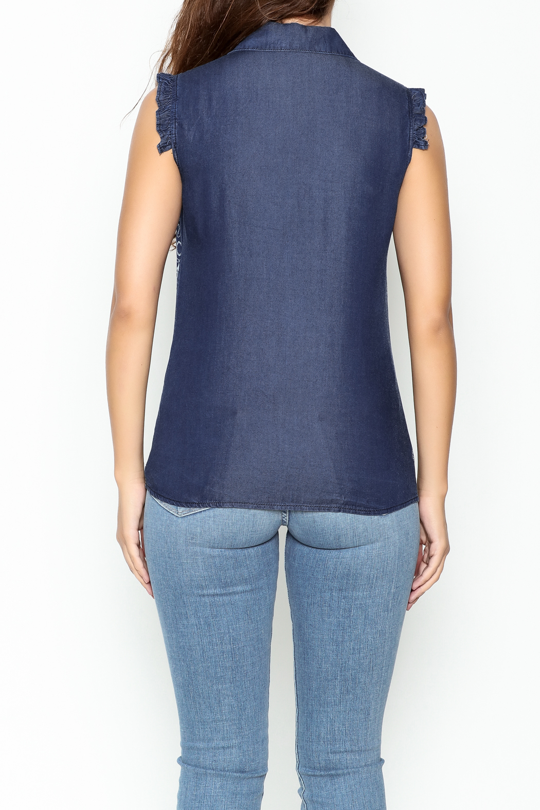 Marvy Fashion Printed Jean Top - Back Cropped Image