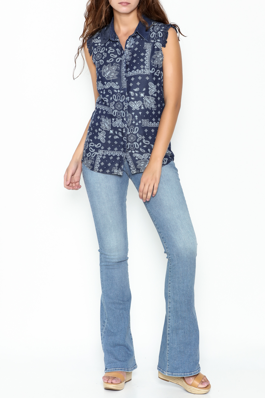 Marvy Fashion Printed Jean Top - Side Cropped Image