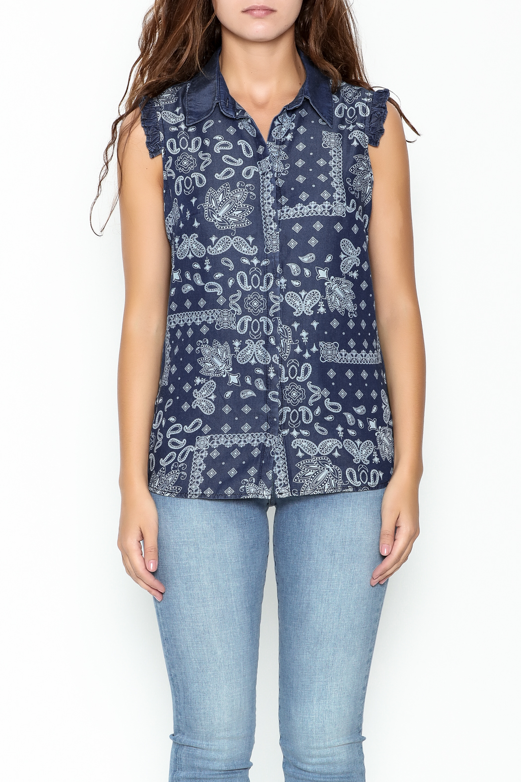 Marvy Fashion Printed Jean Top - Front Full Image