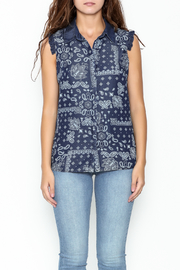 Marvy Fashion Printed Jean Top - Front full body