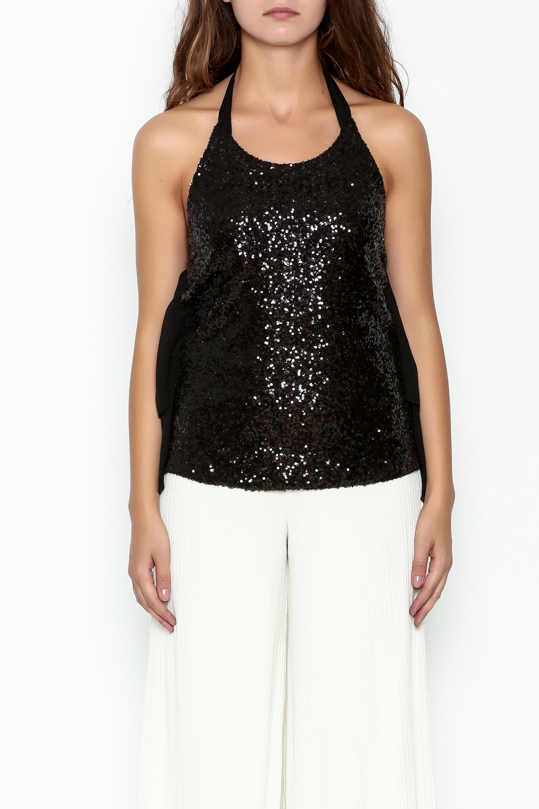 Marvy Fashion Sequined Halter Top - Front Full Image