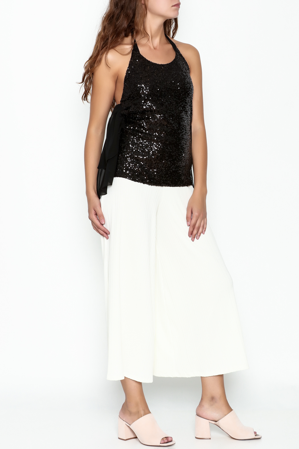 Marvy Fashion Sequined Halter Top - Side Cropped Image