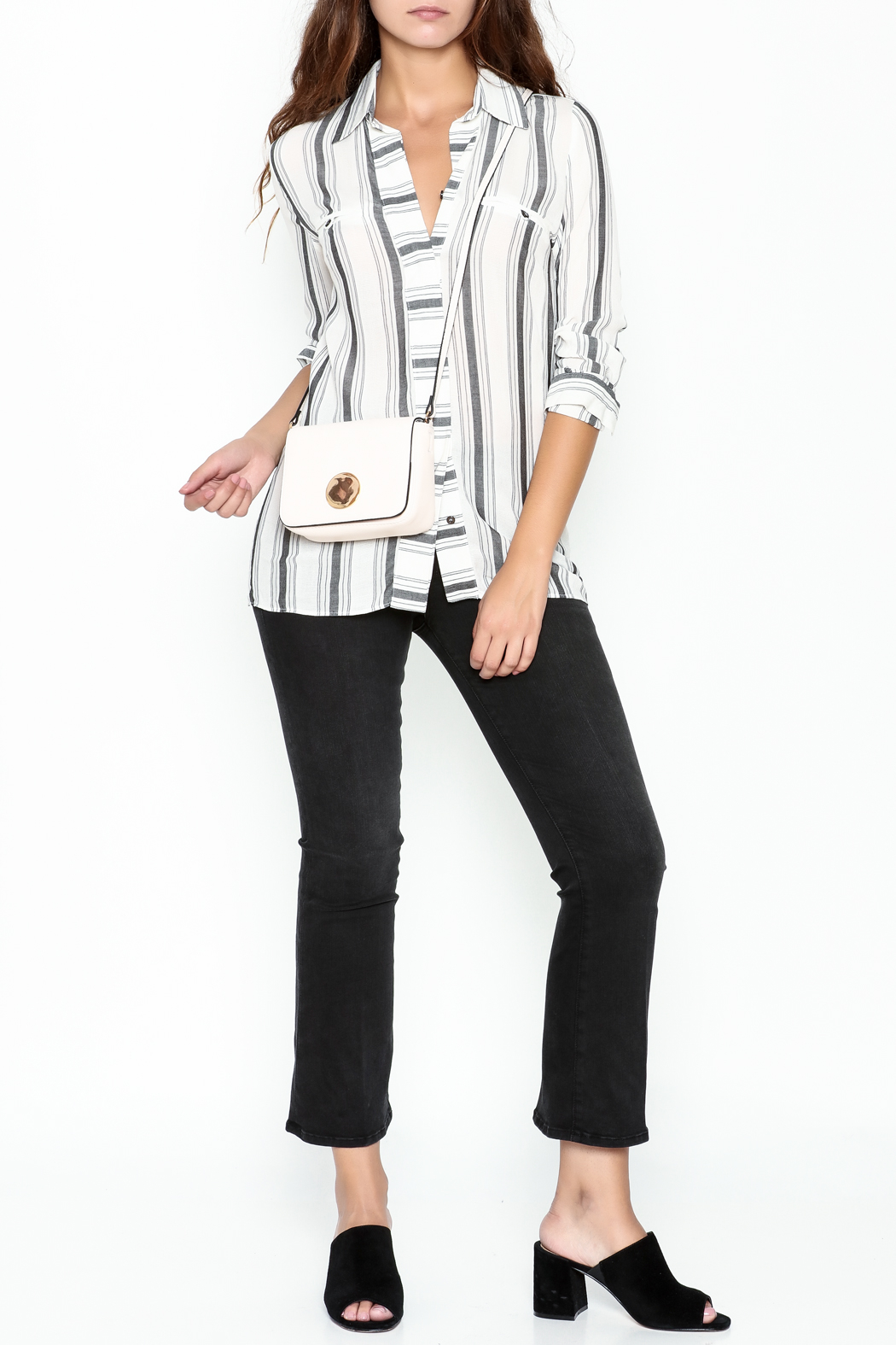 Marvy Fashion Striped Button Down Shirt - Side Cropped Image