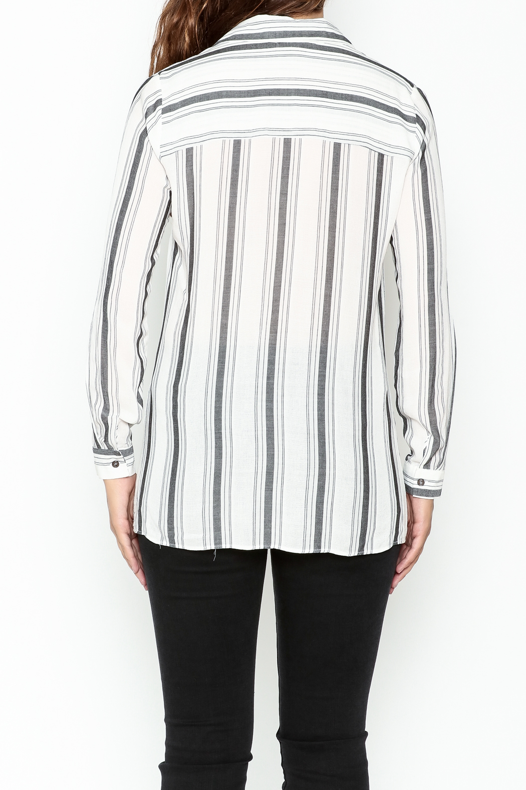 Marvy Fashion Striped Button Down Shirt - Back Cropped Image