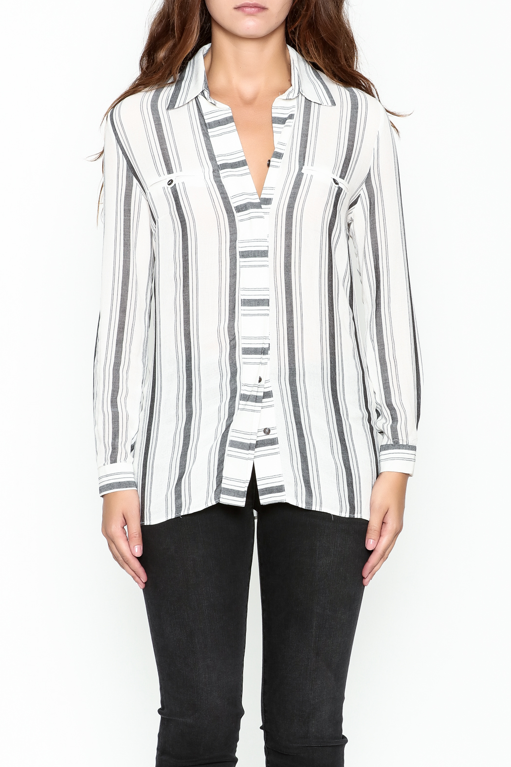 Marvy Fashion Striped Button Down Shirt - Front Full Image