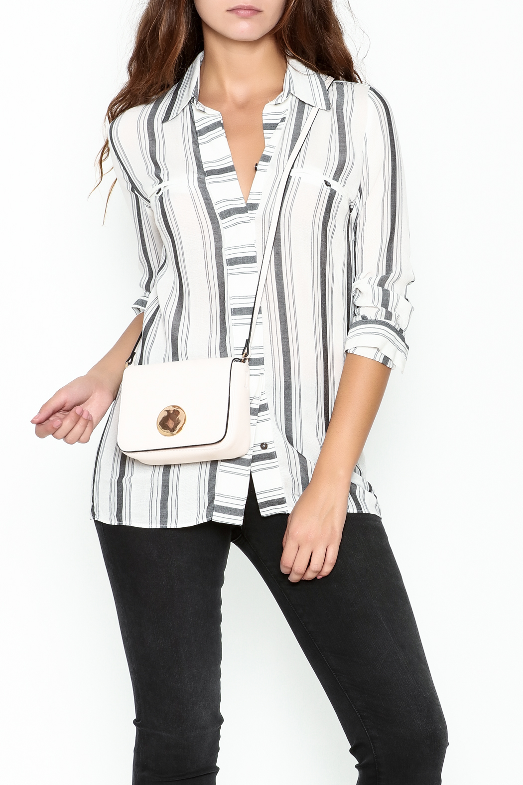 Marvy Fashion Striped Button Down Shirt - Main Image