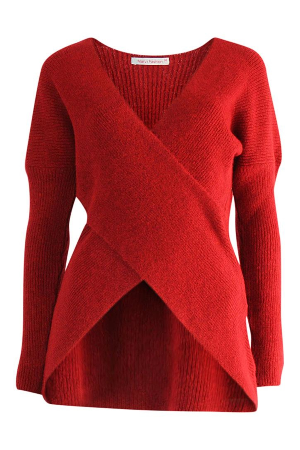 Marvy Fashion Cross Front Sweater - Front Cropped Image
