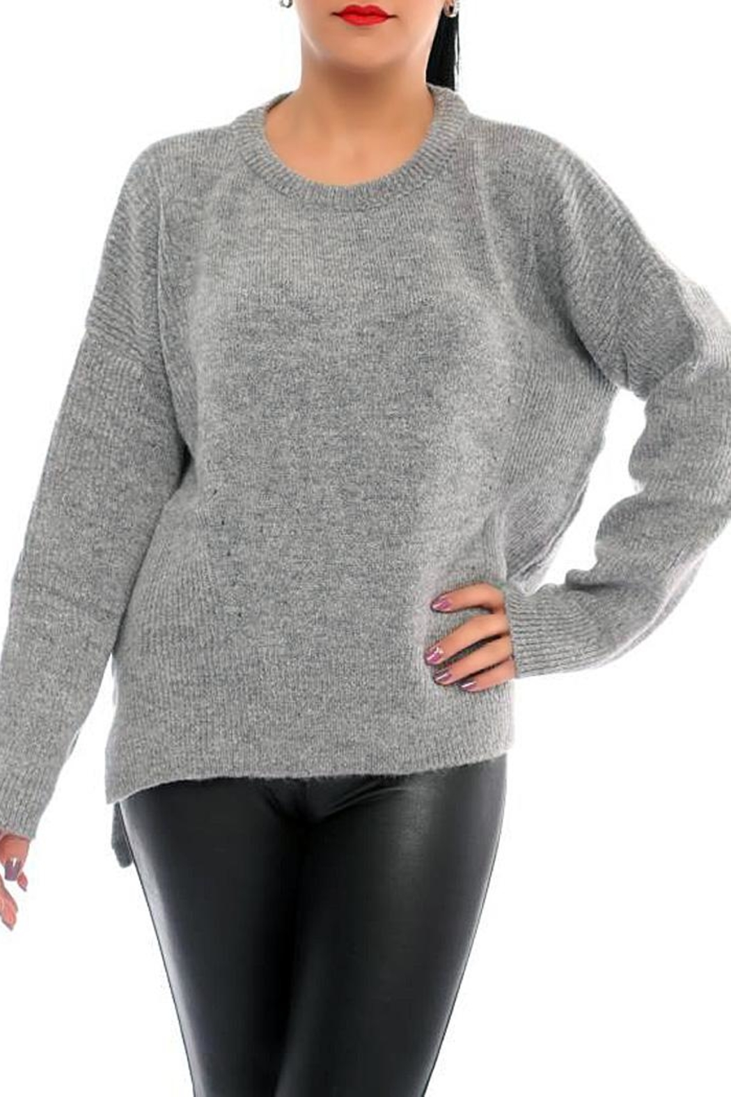 Marvy Fashion Ribbed Pullover - Main Image