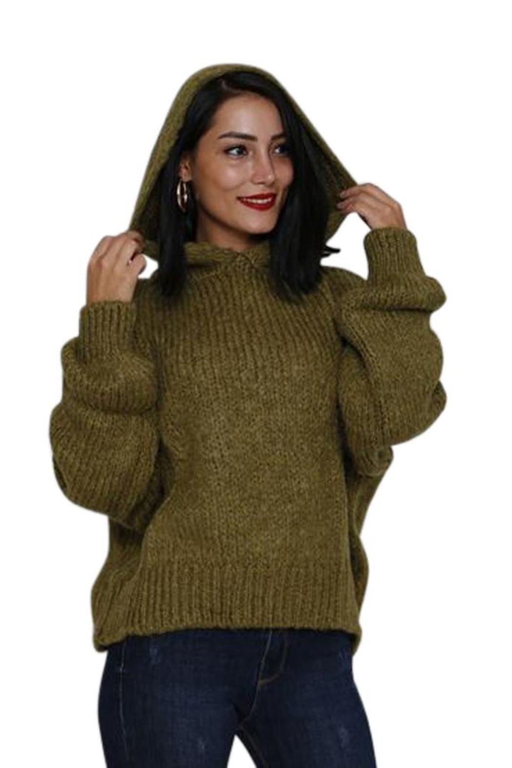 Marvy Fashion Boutique  Olive Hoodie Sweater - Main Image