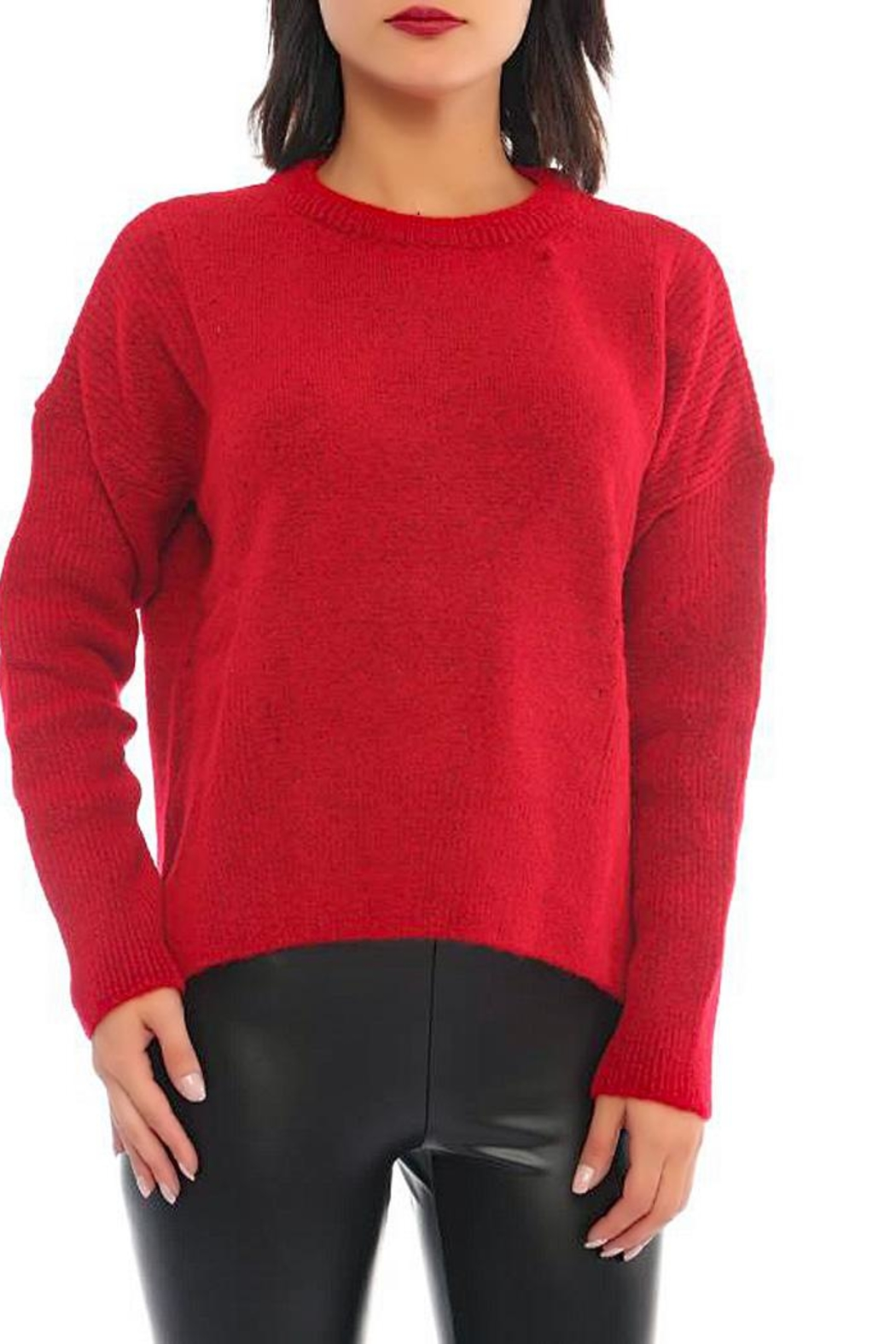 Marvy Fashion Boutique  Ribbed Pullover - Front Cropped Image