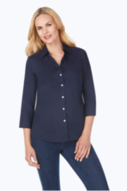 Foxcroft Mary 3/4 sleeve solid stretch Navy - Product Mini Image