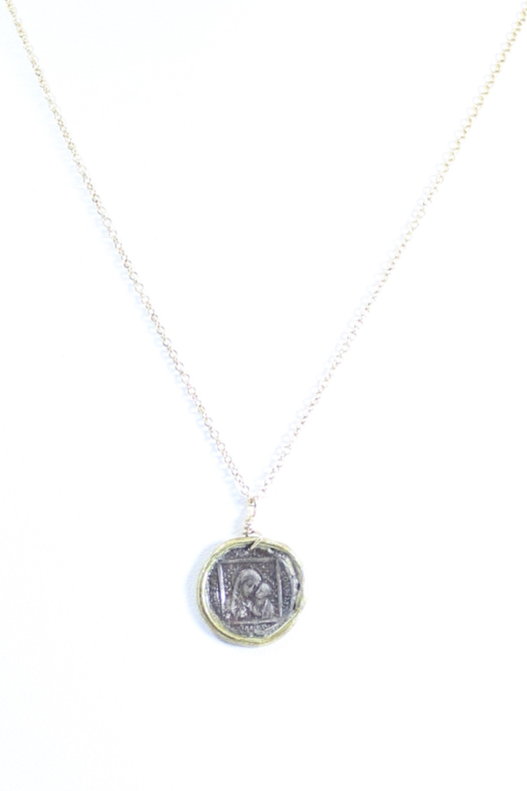 The Birds Nest MARY AND JESUS STAMP NECKLACE - 9 INCH CHAIN - Front Cropped Image