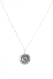 The Birds Nest MARY AND JESUS STAMP NECKLACE - 9 INCH CHAIN - Front cropped