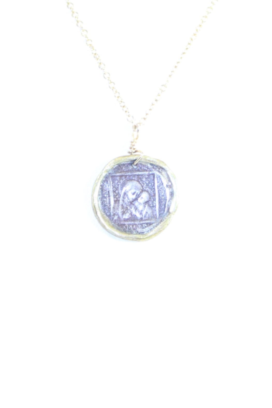 The Birds Nest MARY AND JESUS STAMP NECKLACE - 9 INCH CHAIN - Main Image