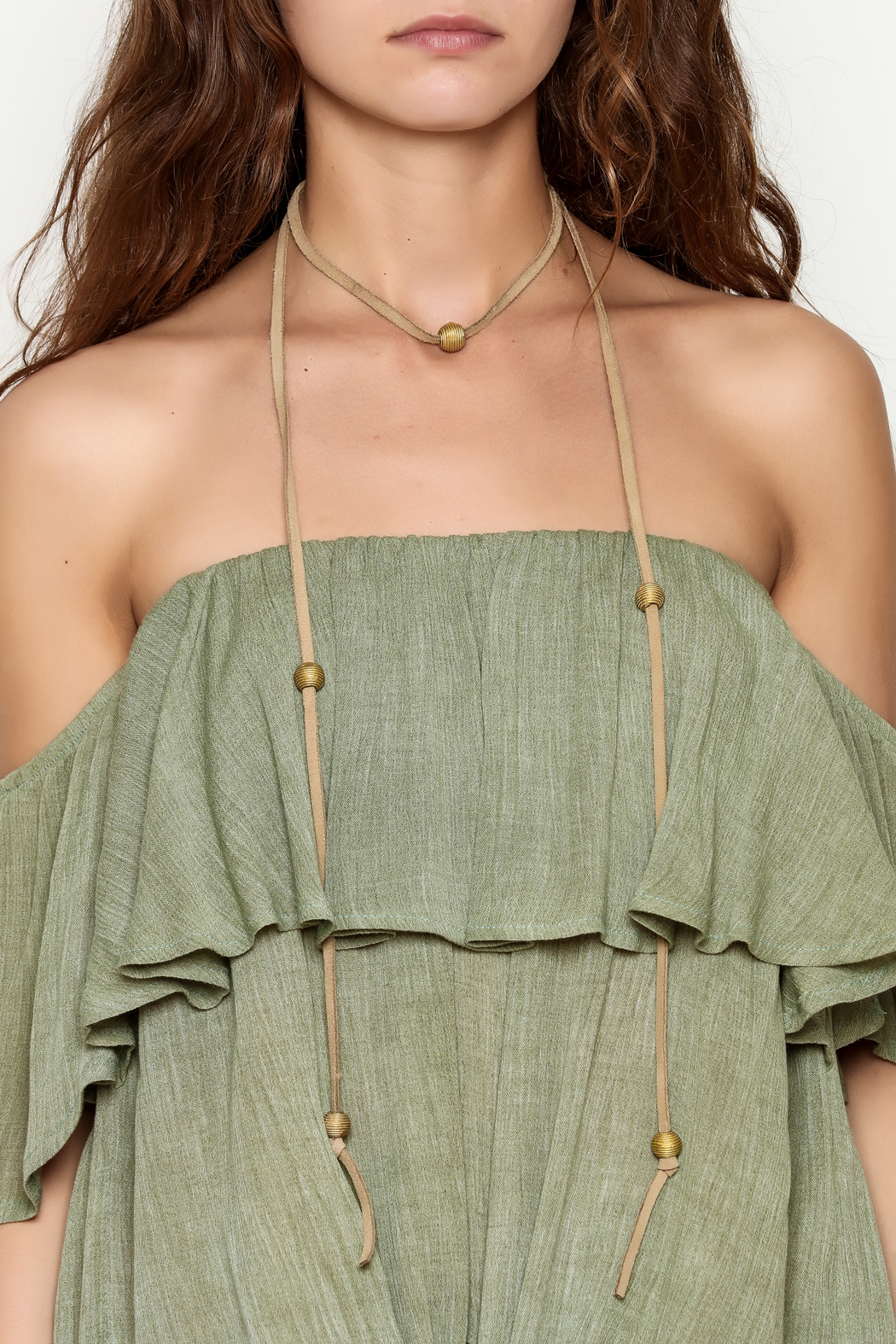 Mary Garrett Tan Leather Wrap Necklace - Back Cropped Image