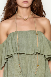 Mary Garrett Tan Leather Wrap Necklace - Back cropped