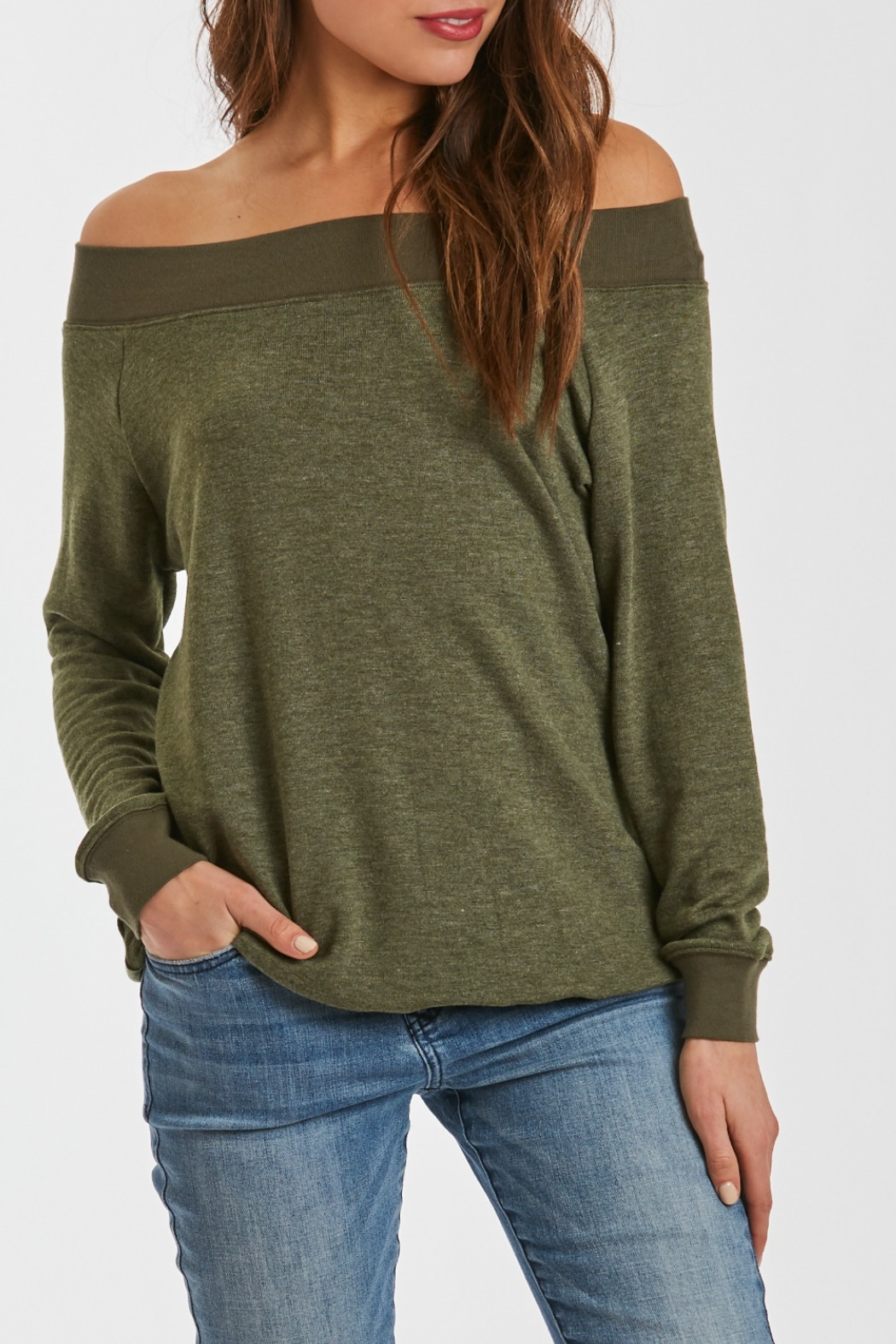 Another Love Mary Off Shoulder Sweatshirt - Front Cropped Image