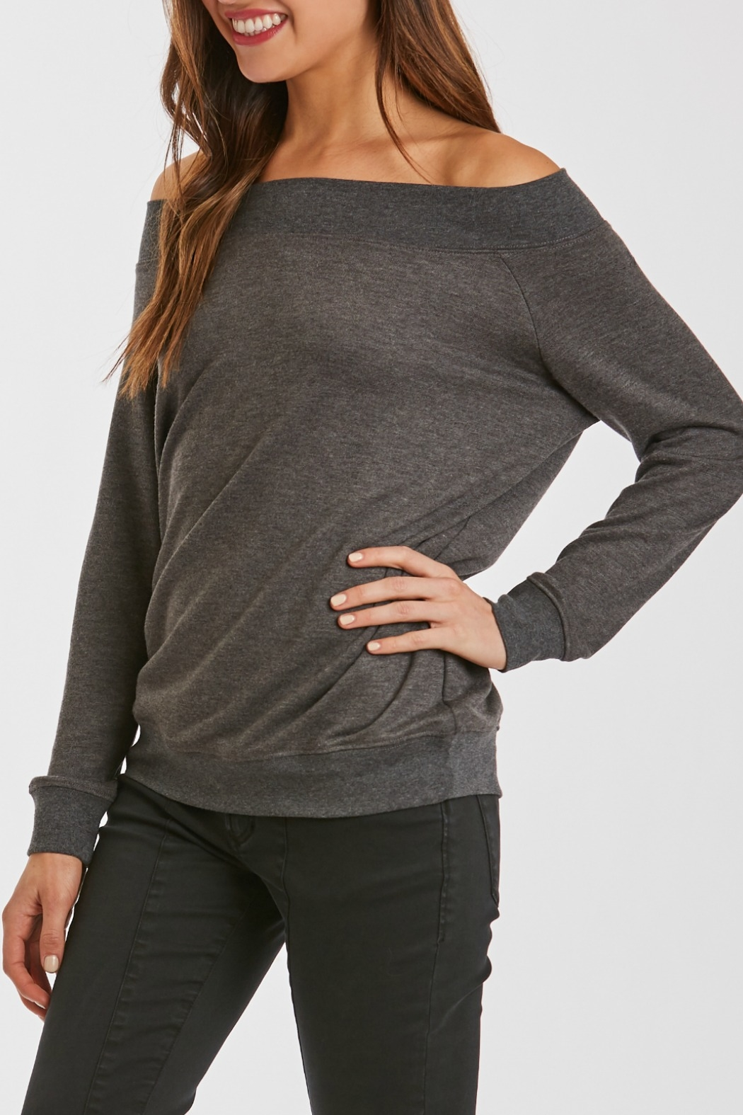 Another Love Mary Off Shoulder Sweatshirt - Front Full Image