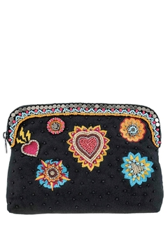 Mary Frances Flaming-Hearts Beaded Make-Up-Bag - Product List Image