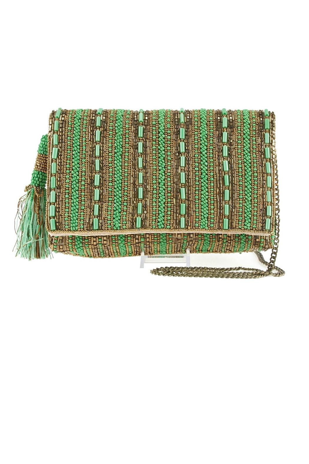 Mary Frances 'Stripe-It-Green  Clutch - Main Image