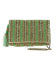 Mary Frances 'Stripe-It-Green  Clutch - Product Mini Image