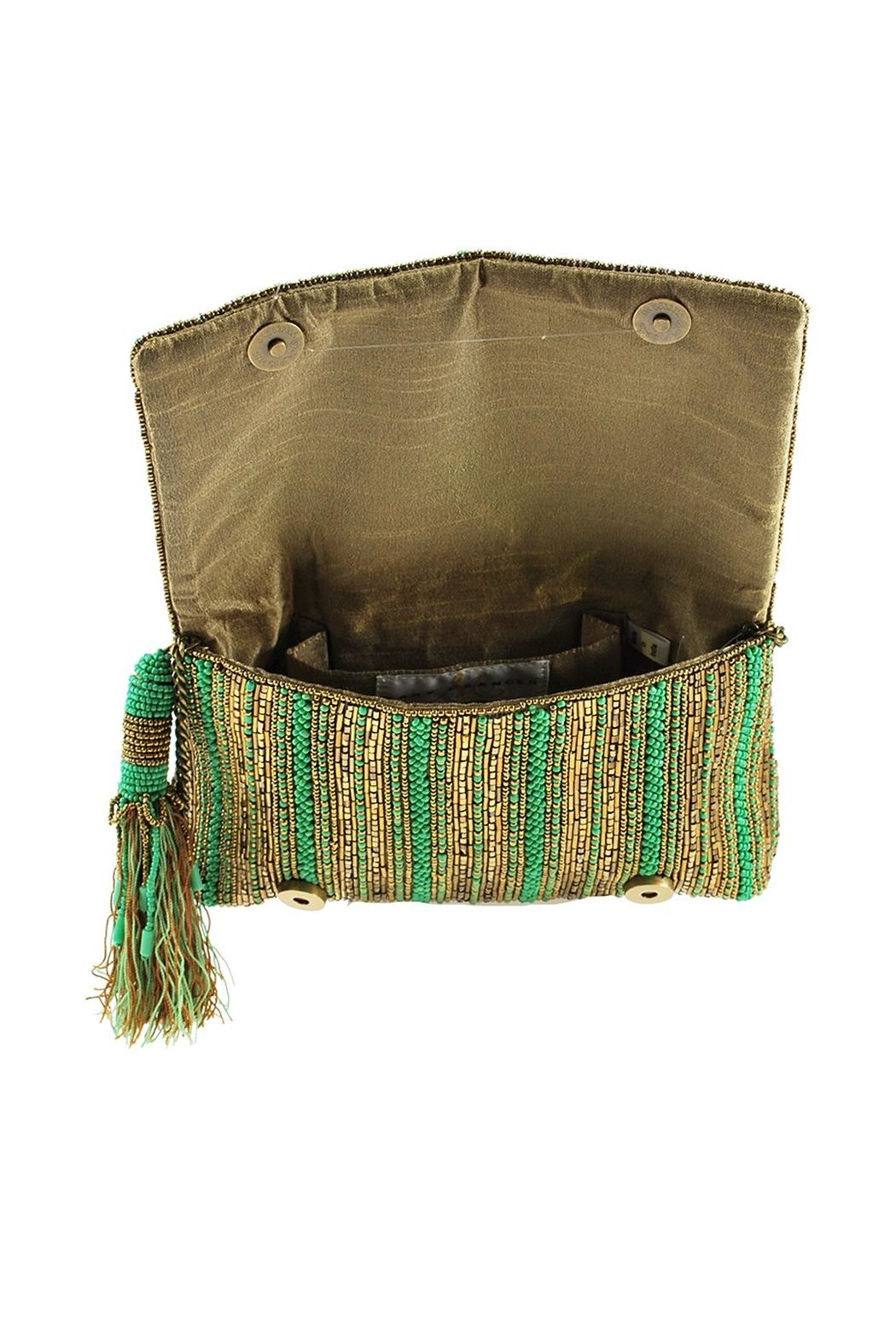 Mary Frances 'Stripe-It-Green  Clutch - Side Cropped Image