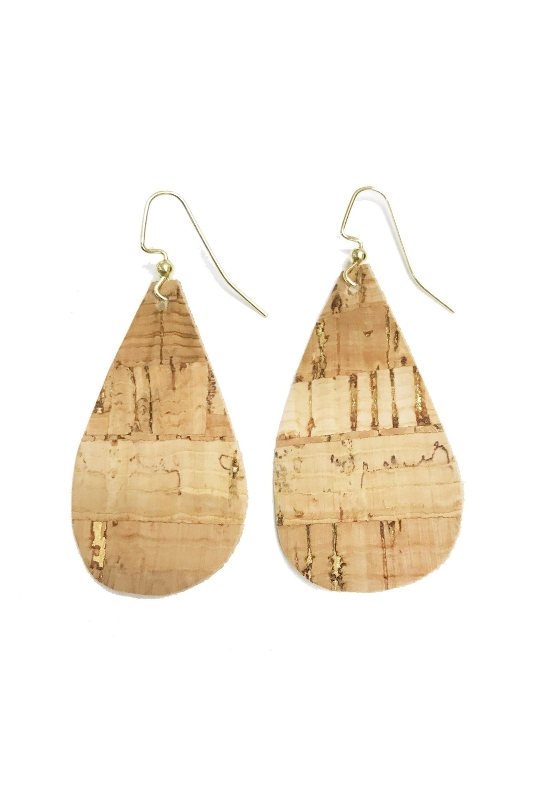 Mary Square Gold Cork Earrings - Front Cropped Image