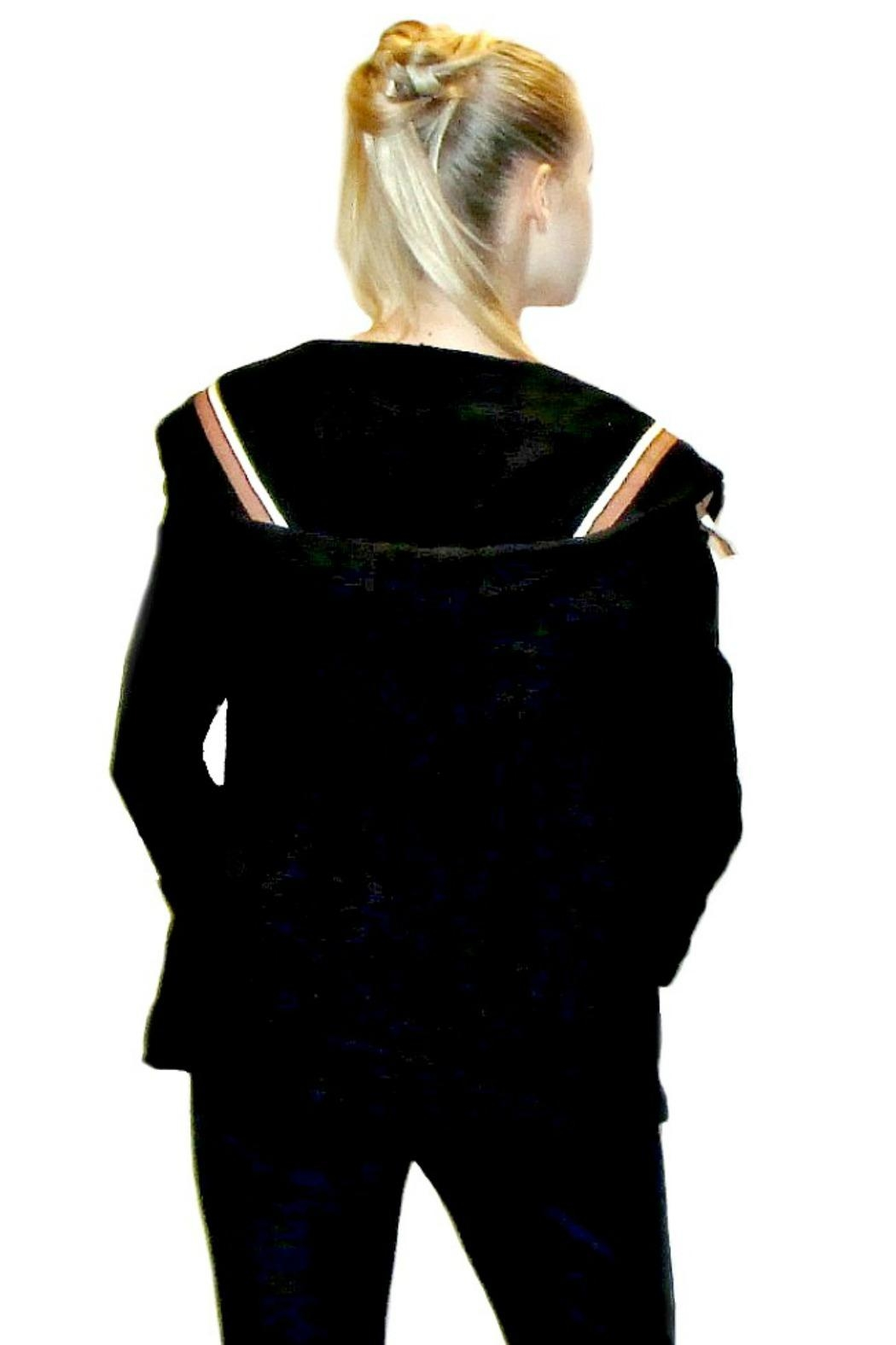 Maryley Black Hoodie Blazer - Side Cropped Image