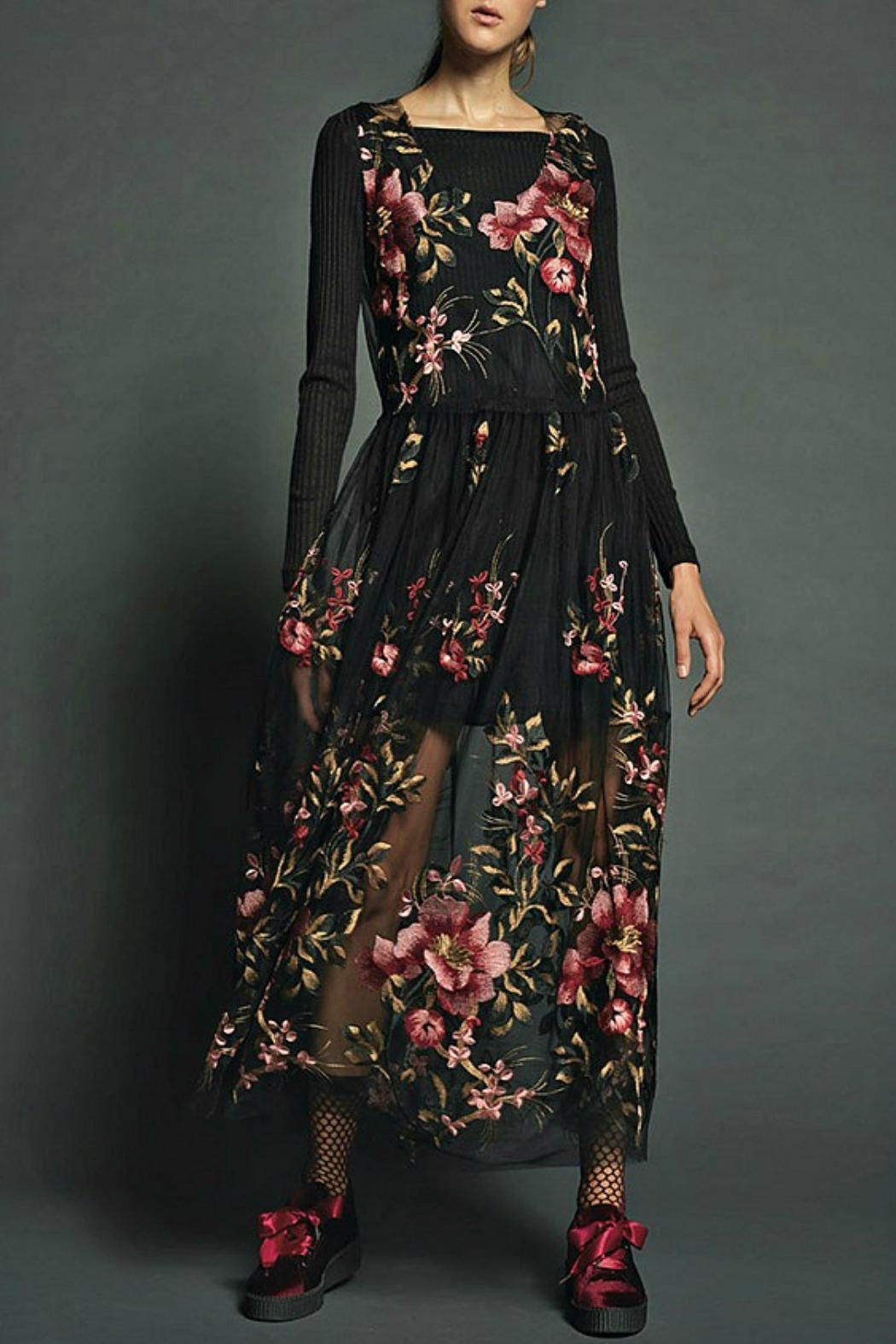 Maryley Floral Embroidery Maxi Dress - Main Image