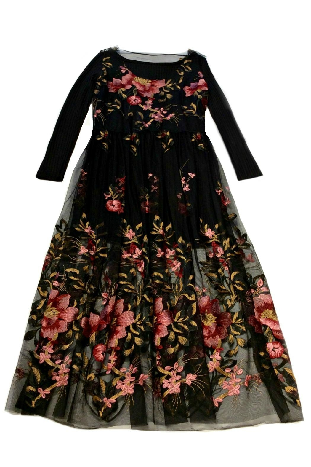 Maryley Floral Embroidery Maxi Dress - Front Cropped Image